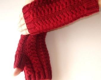 Cranberry  Red Fingerless Garnet Gloves  Hand Knit