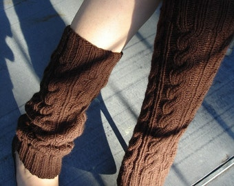 Leg Warmers Chocolate Brown Hand Knit