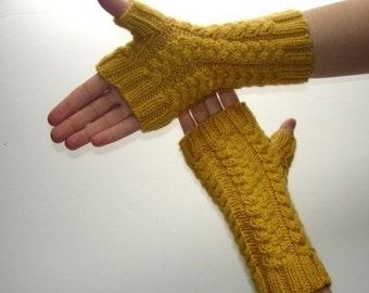 Fingerless Gloves  Mustard Yellow Hand Made