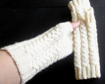 Aran White Merino Hand Knit Fingerless Gloves