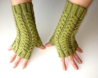 Fern Green Merino Hand Knit Fingerless Gloves