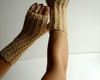 Champagne Beige Kid Mohair Hand Knit Fingerless Gloves