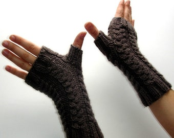 Taupe Brown Hand Knit Fingerless Gloves