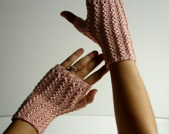 Texting  Blush Pink Cotton Keyboarding Fingerless Gloves Hand Knit for Her