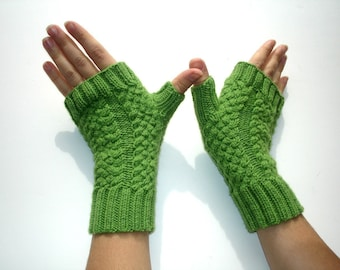 Green Apple  Merino Hand Knit Fingerless Gloves