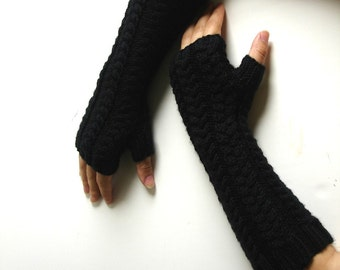 Long Black Cabled Hand Knit Fingerless Gloves