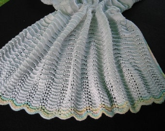 Light Baby Toddler Boy Girl  Blanket Rainbow Trimmed White Lacy Hand Knit