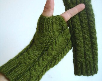 Everglade Green Bamboo Angora Hand Knit Fingerless Gloves