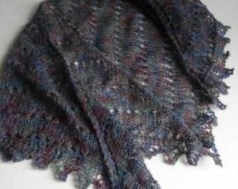 Gray Earth Tones Mohair Trianglular Hand Knit Shawlette Grey