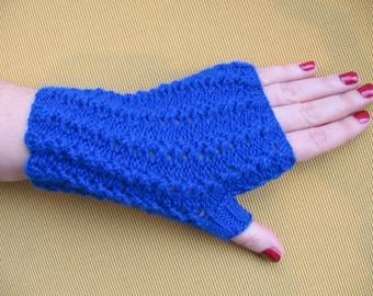 Keyboarding  Fingerless Gloves Sapphire Blue  Hand Knit