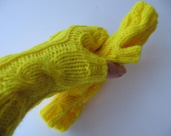 Lemon Zest Yellow Hand Knit Fingerless Gloves