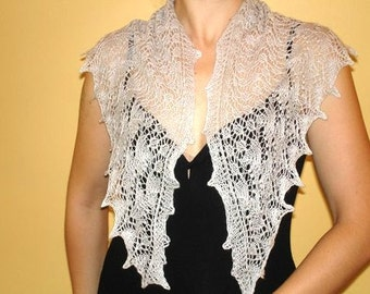 Silver Light Gray Triangular Lace Scarf Hand Knit