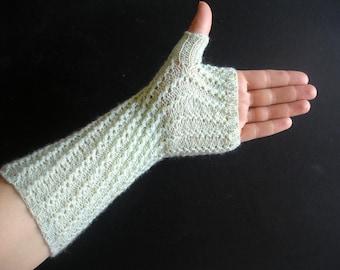 Pistachio Fingerless Gloves  Honey Dew Green Hand Knit For Her