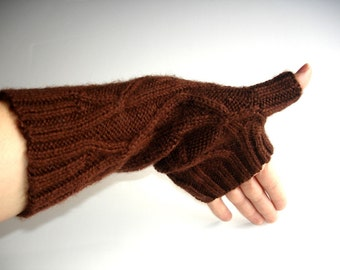 Chocolate Brown Merino Hand Knit Unisex Fingerless Gloves