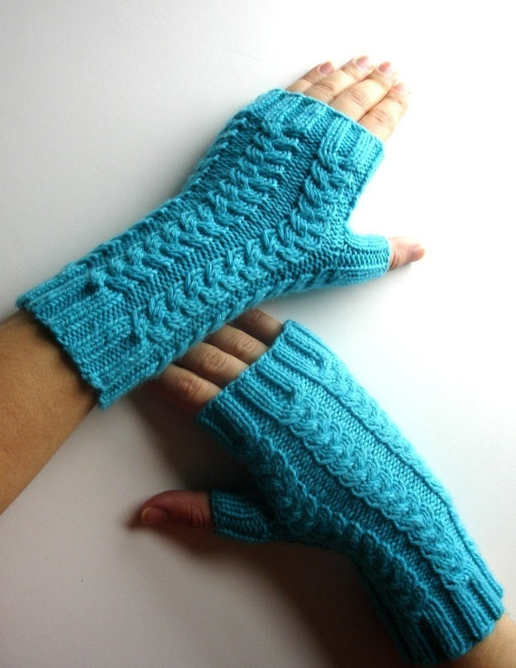 Aquamarine Topaz Blue Merino Fingerless Gloves Hand Knit