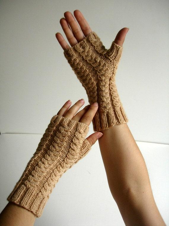 Fingerless Gloves Camel Beige Merino Hand Knit
