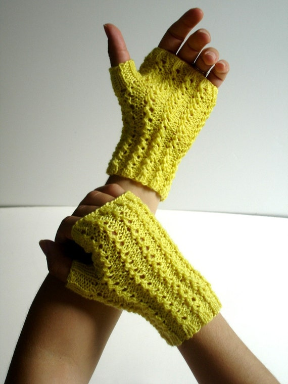 Texting Fingerless Gloves Lemon Zest Yellow Cotton Hand Knit