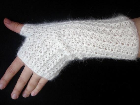 White Angora  Fingerless Gloves Hand Knit