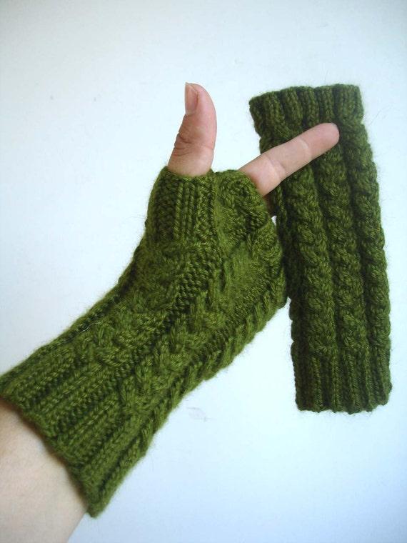 Everglade Green Bamboo Angora Hand Knit Fingerless Gloves