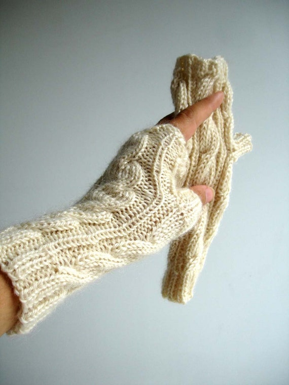 Cream Alpaca Wool Natural White Hand Knit Fingerless Gloves