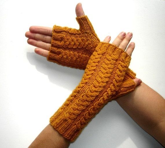Gold Yellow Merino Fingerless Gloves