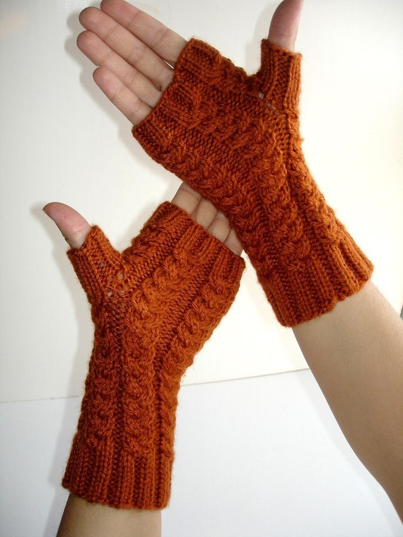 Sienna Fingerless Gloves Spiced Pumpkin Merino Hand Knit