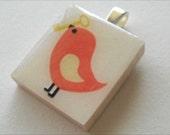 Orange Bird with Key - Scrabble Tile Pendant