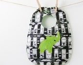 Green Elephant Bib with Snaps - Boy or Girl Shower Gift