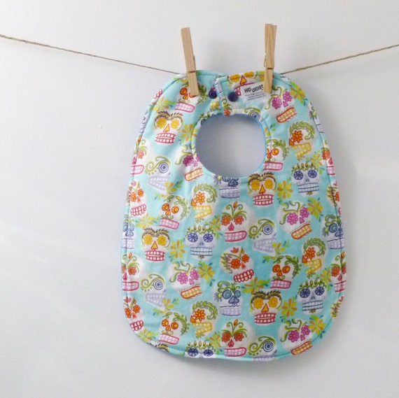 Day of the Dead Oversize Baby Bib with Snaps - Unisex Baby Gift