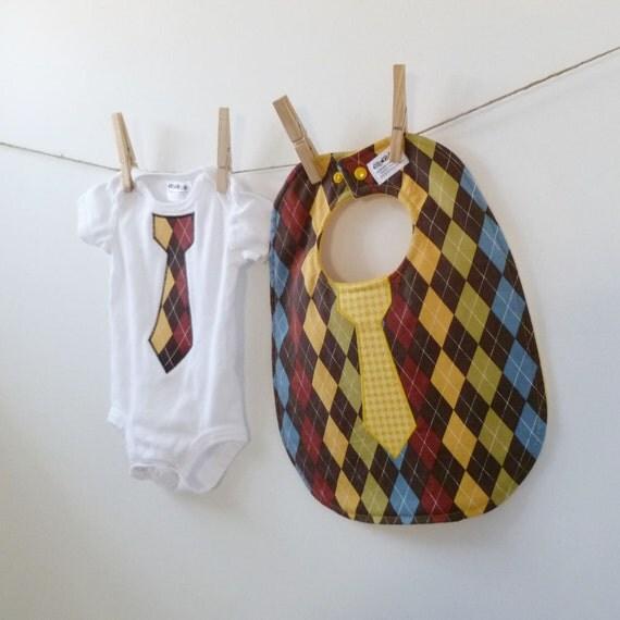 Argyle Tie Bib & Bodysuit Gift Set - Baby Shower Gift - NB, 3m, 6m, 9m