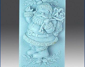2D Jolly Santa silicone soap mold
