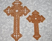 Two Lace Crosses, machine embroidered, gold thread, Bookmarks