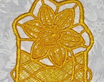 Daffodil Yellow Bookmark, Machine Embroidered Stand alone lace