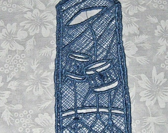 Machine embroidered Lace Bookmark, for the music Lover