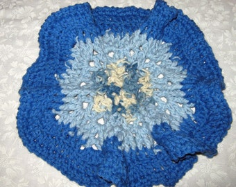 Crochet Wash cloths or Dishcloths Round done in pretty blues
