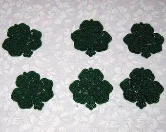 Six  Shamrocks Machine embroidered lace