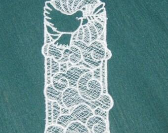 Lace machine embroidered Dove Bookmark, White