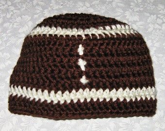 Crochet Baby Football Hat, Newborn, Beanie type, Brown & off white, 0 to 3 mos.