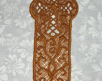 Gold Lace Cross Bookmark, machine embroidery