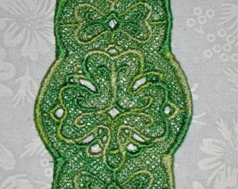 Multi colored Green Lace Shamrock or clover Bookmark, Machine Embroidered lace