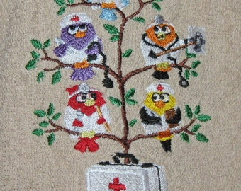 Crochet Hanging towel The tweets are in the medical profession, doctors and nurses