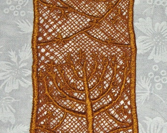 Gold Thread Menorah Bookmark, machine embroidered lace