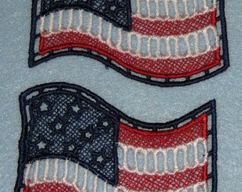Two Patriotic Lace flags, red, white and blue