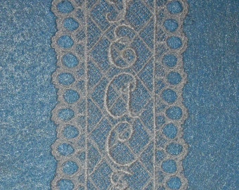 White Machine embroidered Lace Bookmark with Peace