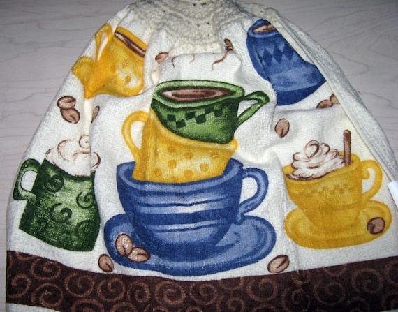 Crochet hanging Towel, coffee cups, with Beige top