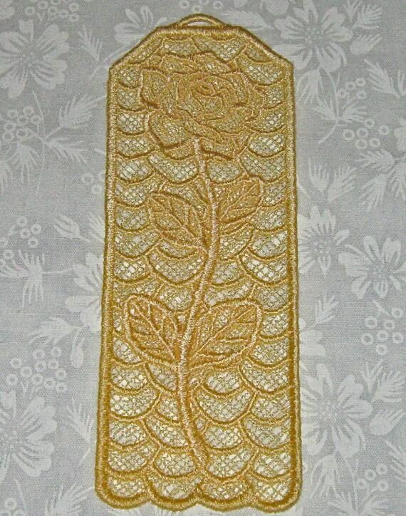 Beautiful Yellow Rose Bookmark, Lace, Machine Embroidery