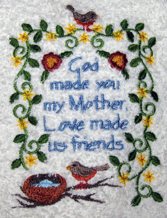 Crochet hanging towel, sentiment for a Mother