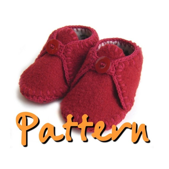 Knitting Pattern Felted Baby Booties : PATTERN Felted recycled wool sweater baby booties by knit1sip2