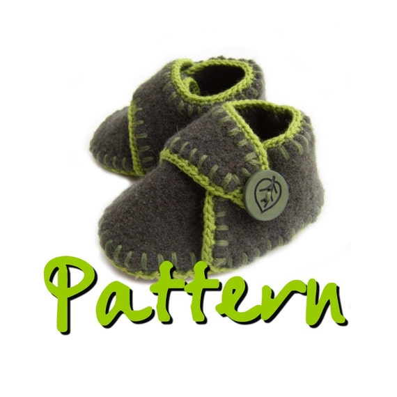Pattern Felted Wool Baby Booties With Ankle Strap