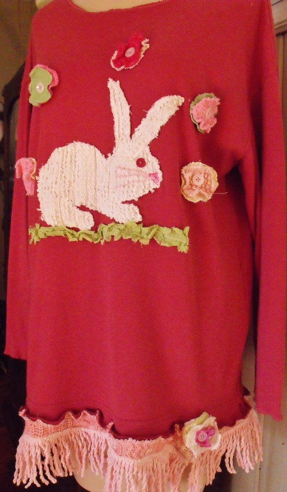 Sweet Bunny Hopping Down the Bunny Trail XL Tunic with Flowers